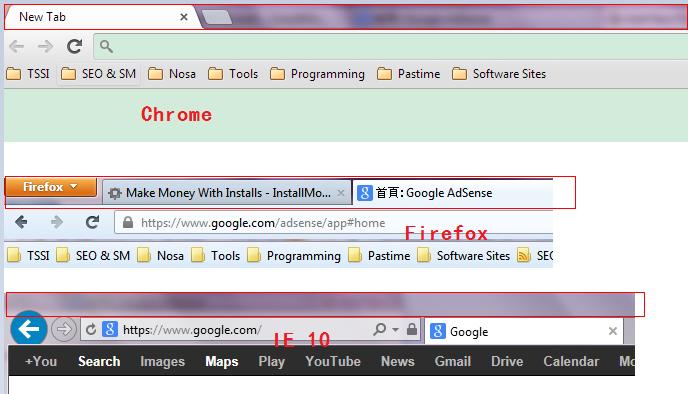 三大浏览器标题/标签栏对比